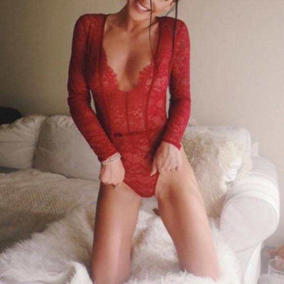 c64474c890 Red Sheer Lace Long Sleeve Bodysuit Romper